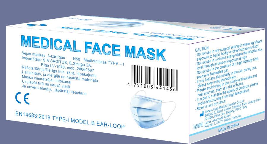 3,00eur +PVN  Medicīniskā sejas maska 3-kārtīga, Type-I, iepakojums N50